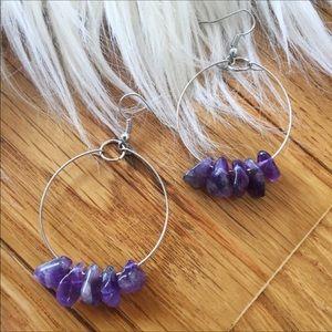Handmade amethyst bead hoop earring